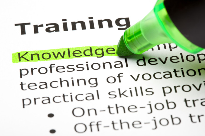 'Knowledge' highlighted, under 'Training'